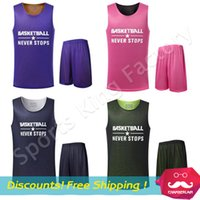 Wholesale Double sided Basketball clothes New Basketball clothes suit custom tailored Men racing suit training suits