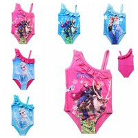 Wholesale Elsa Anna Swimwear Kids Swimming costume Bikinis One Pieces Baby Girls Bathing Suit Frozen Swimming Suit Choices