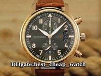 best tagging gun - Super Clone Brand Watch IW387803 Pilot s Watch Spitfire Quartz Chronograph Mens Watch TOP GUN Rose Gold Leather Strap Mens Luxury Best Watch