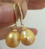 al por mayor 13mm pendientes-Hermoso un par 12-13mm barroco del mar del sur oro pendientes de perlas de oro 14k