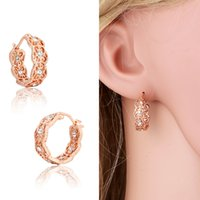 baby earrings gold - 18K Rose Gold Plated Filligree Cluster Crystals Hie Hoop Earrings Fashion Hot Gift for Kids Girls Baby Children Women Jewelry