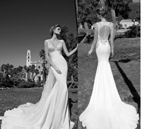 backless dress shop - Mermaid Wedding Dress V Neck vestido de noiva Vintage Lace Beach Wedding Gowns Keyhole Back robe de mariage Bridal Gown online shop China