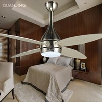 Wholesale Modern Led w Nickel plated ceiling fan with lights lamp Lighting ventilador techo Remote Control Wooden Fans v european