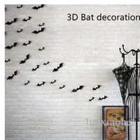 bats live - Halloween Party pack PVC D Decorative Bats Butterfly Wall Decal Wall Sticker Halloween Eve Decor Home Window Decoration