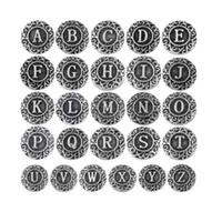 Wholesale 26pcs snap button jewelry metal snap button fits snap button bracelet initial A Z alphabet letter snap button jewelry mm SHU919