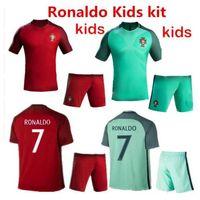 Wholesale New Portugals kids jersey soccer Home Red Away Green Ronaldo NANI J MOUTINHO H POSTIGA R MEIRELES Portugals children football shir