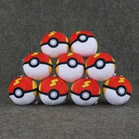 Wholesale 10pcs Styles Anime Cartoon High Quality Pokeball Plush Toy Doll with Ring Soft Stuffed Doll Keychains Pendant Christmas gift