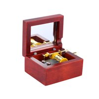 Wholesale Durable Material Red Wood Musical Box Hand Crank with Built in Mirror Castle in the Sky Melody Retro Vintage elegant design