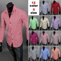 Wholesale The New Listing Mens Shirt Famous Designer Solid Lattice Comfortable Trendy Stylish Male Dress Brand Shirt Men