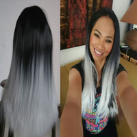 Wholesale Long Wigs Ombre Wig Long Straight Cheap Women Synthetic Wig Fashion Natural Hair Women Black and White No Synthetic Lace Front Wigs g