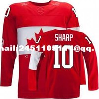 Cheap Retro throwback #10 PATRICK SHARP Team Canada Jersey OLYMPIC HOCKEY EUB Fast free shipping Customize any size player name number