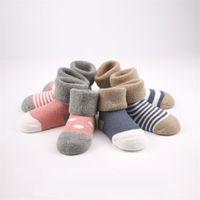 baby terry socks - Baby Kids Cotton Towel Socks Winter Thick Strip Terry Socks Months Girls Boys Socks Walking Children Socks Clothing Colors