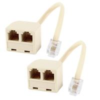 Wholesale Telephone P4C RJ11 Splitter Dual Female to Male Plug Jack Cord Adapter Landline Phone Way Converter
