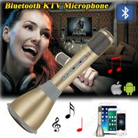 audio microphone for computer - K068 Karaoke Player Wireless Bluetooth Music Condenser Microphone With Mic Speaker KTV Singing Record For Phones s plus Computer