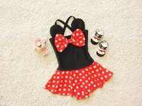 Girl baby girl swimsuit minnie - Cute Kids Swimwear Cartoon Mickey Minnie Costume Polka Dot Baby Swimsuit Hot Sale Bathing Suit Bikini with Swimwear