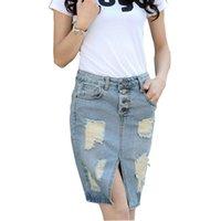 Nueva ocasional 2016 mujeres del dril de algodón de la falda de la falda del agujero más el tamaño de los pantalones vaqueros del dril de algodón de las señoras de la falda larga Jean faldas del lápiz del tamaño extra grande
