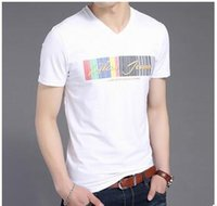 Wholesale Summer Han Edition Cultivate One s Morality Short Sleeve T shirt V neck Cotton Men Render Unlined Upper Garment Contracted Printed Half Slee