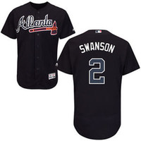 base number - New Custom Atlanta Braves Jersey Mens Dansby Swanson Navy Blue Cool Base MLB Replica Jersey Stitched Name Number and Logos