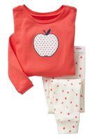 apple pajamas - 6 Sets APPLE Kids Boys Girls Cotton Tops Trousers Sleepwear Pajamas