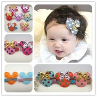 ac chemical - Colors Solid Polka Dot Pattern Mouse Head with Glitter PU Bow Baby Girls Hairpins Fashion Baby Hair Ac