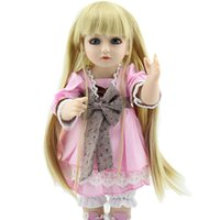 Wholesale Cheap Newborn Clothes For Girl - Gold Long Hair Girls Fake Babies 18inch Hard Plastic BJD SD Dolls 45CM Lovely Princess Clothing Reborn Baby Girl For sale Cheap
