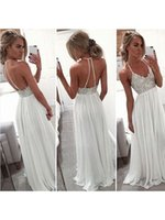 Wholesale NEW V Neck Beaded Embroidery Prom Dresses Long Long Evening Party Gowns Backless A Line