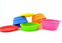 Wholesale Portable Pet Dog Cat Fashion Silicone Collapsible Feeding Feed Water Feeders Foldable Travel Food Bowls Dish