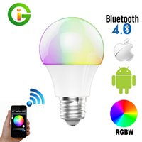 Wholesale Bluetooth LED Bulb W E27 RGBW Bluetooth Smart LED Light Color Change Dimmable by IOS Android APP