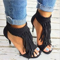 Wholesale Summer Black Tassel Twine Knot Suede Leather Open Toe Women Sandals Fringe Ankle Wrap Back Zipper High Heels Gladiator Shoes Woman