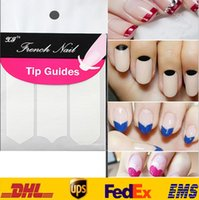 beauty wave pack - New DIY French Manicure Nail Art Tips Tape Sticker Guide Stencil Masking Decal Beauty Tools Smile Round Wave color white pack