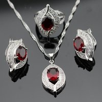 agate dark crystal - 925 Sterling Silver Red Garnet Jewelry Sets For Women Silver Earrings Ring Pendant Necklace Ladies Christmas Gift JS13