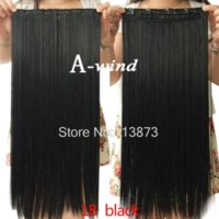 Wholesale 2014 New inch cm Long Straight clip in hair extensions Synthetic hair piece women s hair fashion black
