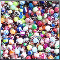 Wholesale 50 Mix Color Stainless Acrylic Ball Barbell Bar Belly Button Ring C00348 SPDH