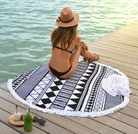 Wholesale Popular Microfiber Round Beach Towel With Tassels Summer Bath Towels Swimming Sunbath toallas serviette de plage
