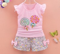 babies sleeve little - 2016 Summer design Baby Girls Newborn Printed Top with Bodysuit and Shorts Little Girls Piece Pant Set