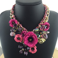 beautiful chokers - New Beautiful Flowers Statement Necklace Big Flowers Pendant Vintage Bib Choker Necklace Fashion Grace Princess Wedding Women Jewelry