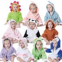 Wholesale Cute Animal Cartoon Baby Bathrobe Infant Children Hooded Towel Wrap Cotton Quality Toddler Spa Bath Towel JY0248