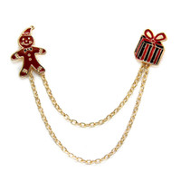 american themed parties - Fresh and lovely Christmas themed gift box Christmas gift accessories Gingerbread Man Brooch Pin Chain Collar