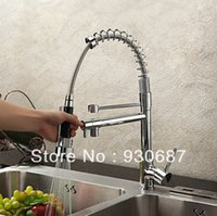 Wholesale Contemporary Chrome Finish Solid Brass Spring Kitchen Faucet Two Spouts Deck Mount Mixer Faucet