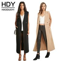 Wholesale HDY Haoduoyi Autumn Women Fashion Casual Loose Turn down Collar Trench Insert Long Female Coat Sleeveless Color Big pockets Outwear