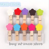 Wholesale Mini Flower Shape Wooden Clothes Photo Paper Peg Pin Clothespin Craft Clips