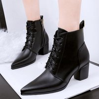 Cheap 2016 Fashion Ankle Motorcycle boots Black British Pointed Toe Solid Thick With Naked Pointed With Short Canister Boots Black