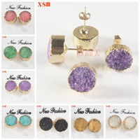 Wholesale Druzy Natural Crystal Earrings Women S Kendra Scott Earrings mm Gold Women Druse Earring For Party Jewelry