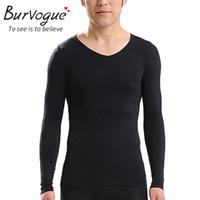 Wholesale Burvogue Black Long Sleeve Shapers Shapewear Men Shaper Slimming Waist Shaper and Tummy Underwear Control Shaper Girdles