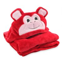 baby monkey high - High Quality red monkey baby blanket for newborn swaddle super soft Coral Velvet Kid Toddler hooded Cloak quilt fleece wrap