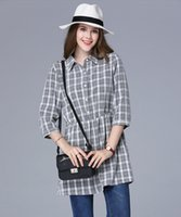 bamboo grid - 2016 Autumn plus size latest style bamboo grid three quarter sleeve shirt