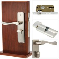 aluminium security doors - Aluminium Alloy Handle Modern Interior Bathroom Silent Copper Lock Cylinder Security Anti theft Double Latch Door Lock Keys