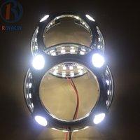 headlight projector lens - LEDs Angel Eyes Daytime Running Lights DRL for Bixenon HID Projector Headlights Lenses Bezel Mask for Porshce Panamera Style