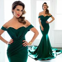 Cheap Emerald Green Formal Evening Dresses 2016 Arabic Off Shoulder Long Dresses Short Sleeve Mermaid Bridesmaid Prom Gowns Custom Made