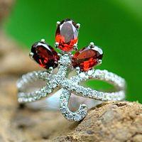 Wholesale Princess Elizabeth Oval Cut ct Women Garnet Rings